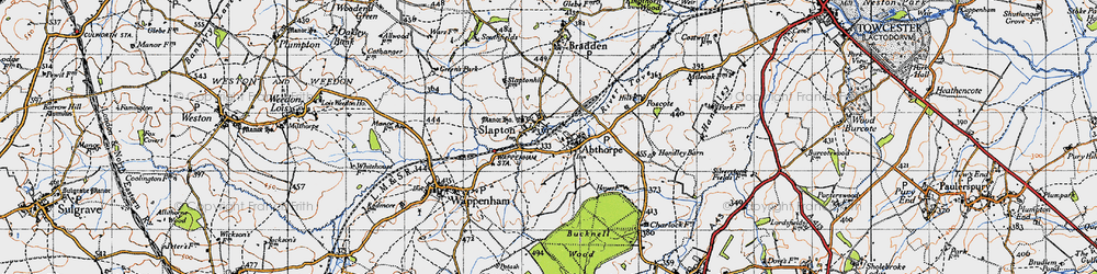 Old map of Abthorpe in 1946