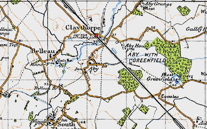 Old map of Aby in 1946