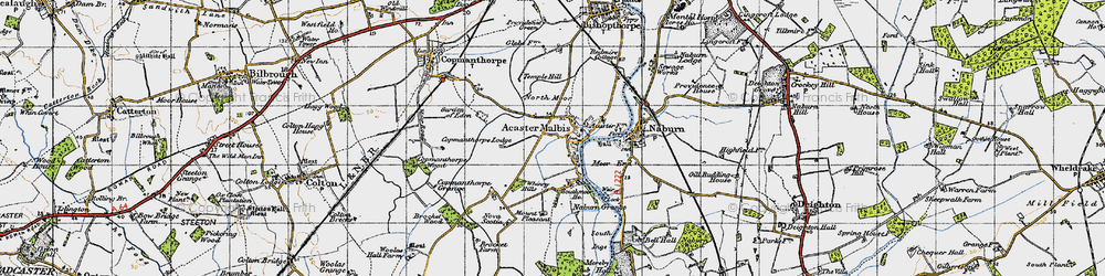 Old map of Whinny Hills in 1947
