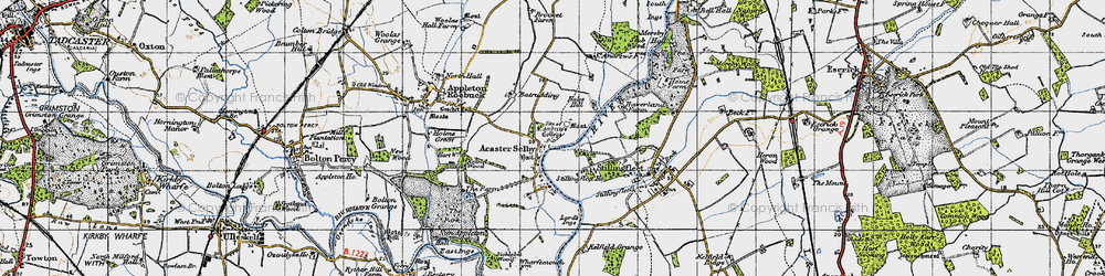Old map of Acaster Selby in 1947