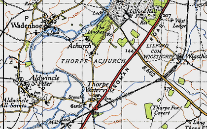 Old map of Achurch in 1946