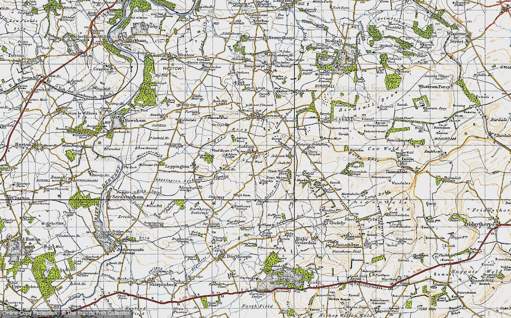 Old Map of Historic Map covering Acklam Wold in 1947