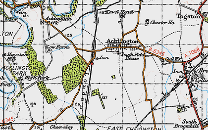Old map of Acklington in 1947