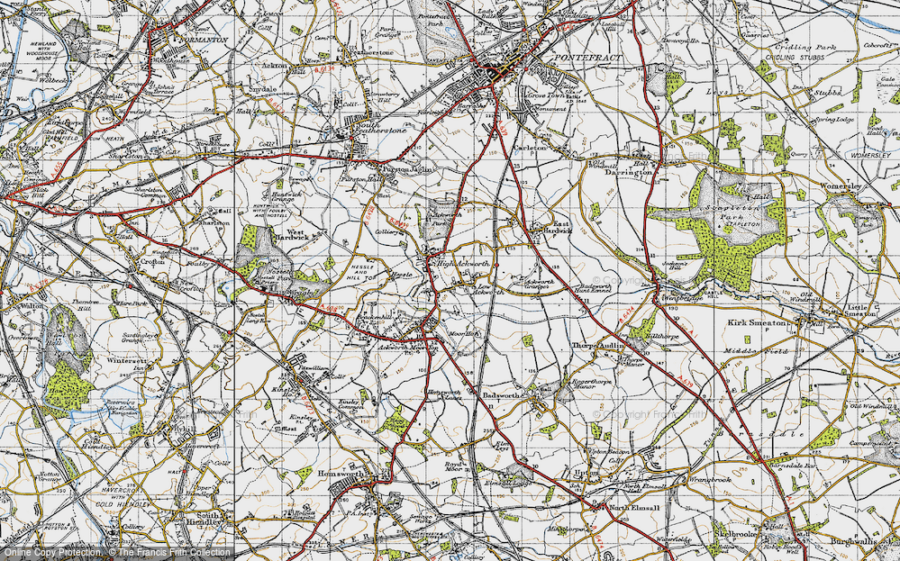 Old Map of Historic Map covering Ackworth School in 1947