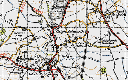 Old map of Ackworth Grange in 1947