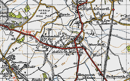 Old map of Ackworth Moor Top in 1947