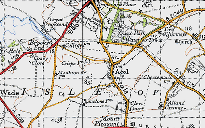 Old map of Alland Grange in 1947