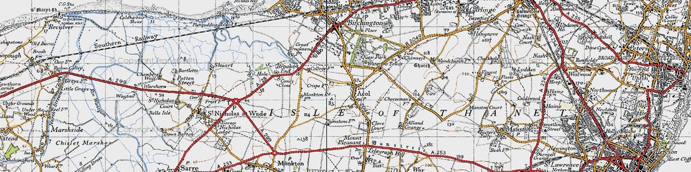 Old map of Acol in 1947