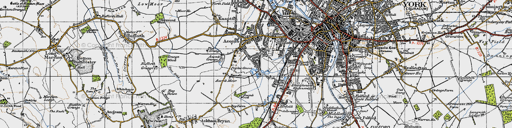 Old map of Acomb in 1947