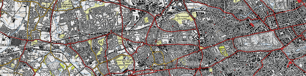Old map of Acton in 1945