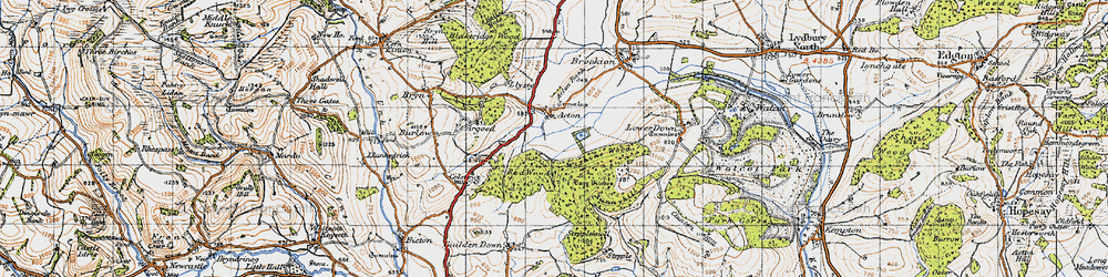 Old map of Withins Wood in 1947