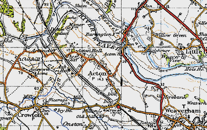 Old map of Acton Bridge in 1947