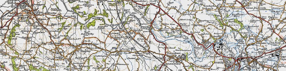 Old map of Acton Bridge in 1947