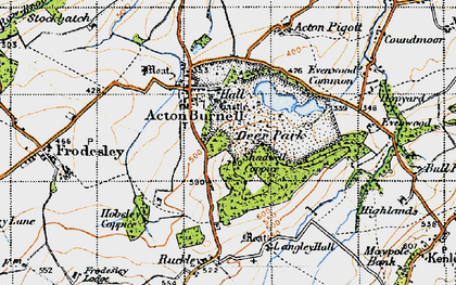 Old map of Acton Burnell Castle in 1947