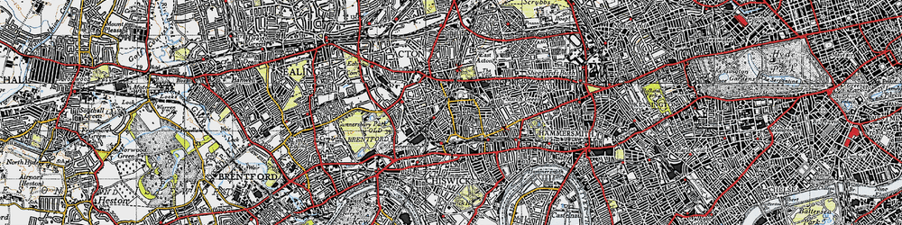 Old map of Acton Green in 1945