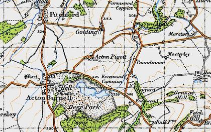 Old map of Acton Pigott in 1947