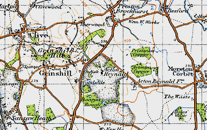 Old map of Acton Reynald in 1947