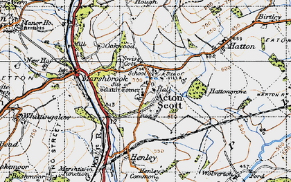 Old map of Acton Scott in 1947