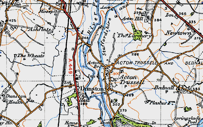 Old map of Acton Trussell in 1946