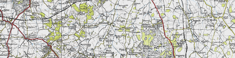Old map of Adam's Green in 1945