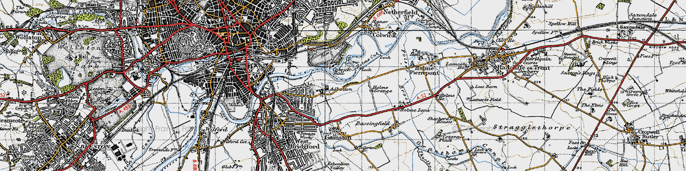 Old map of Adbolton in 1946