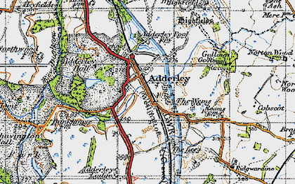 Old map of Adderley in 1947
