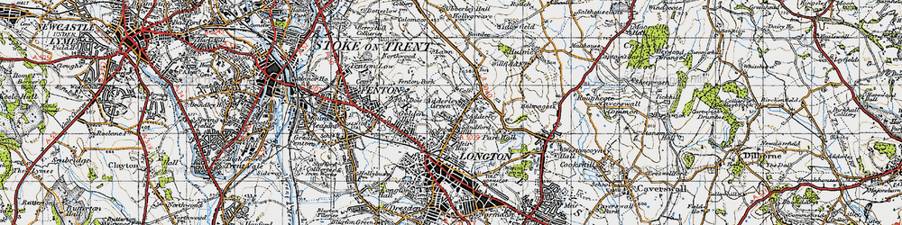 Old map of Adderley Green in 1946