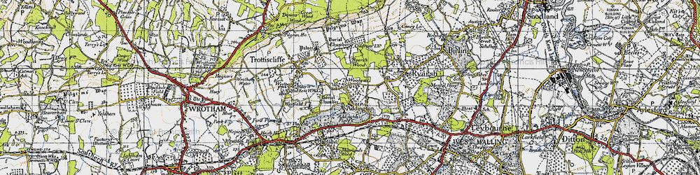 Old map of Woodgate in 1946