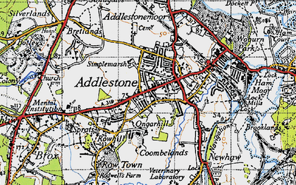 Old map of Addlestone in 1940