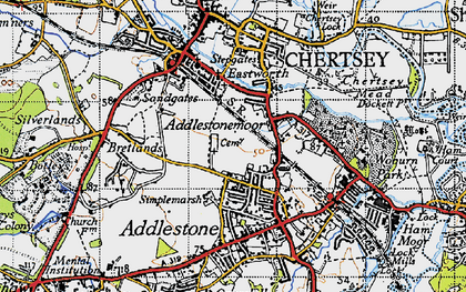 Old map of Addlestonemoor in 1940