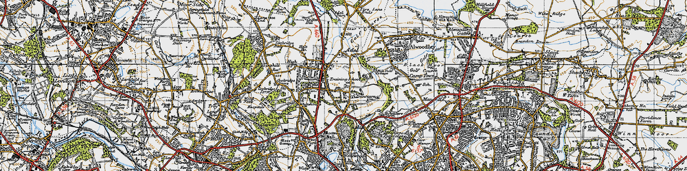 Old map of Adel in 1947