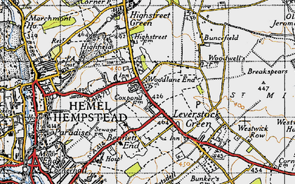 Old map of Adeyfield in 1946