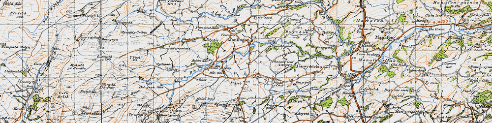 Old map of Adfa in 1947