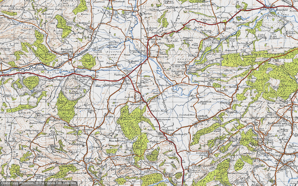 Old Map of Historic Map covering Leintwardine Fishery in 1947