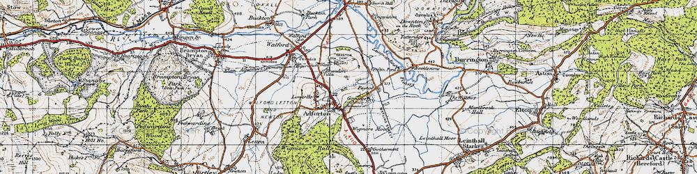 Old map of Leintwardine Fishery in 1947