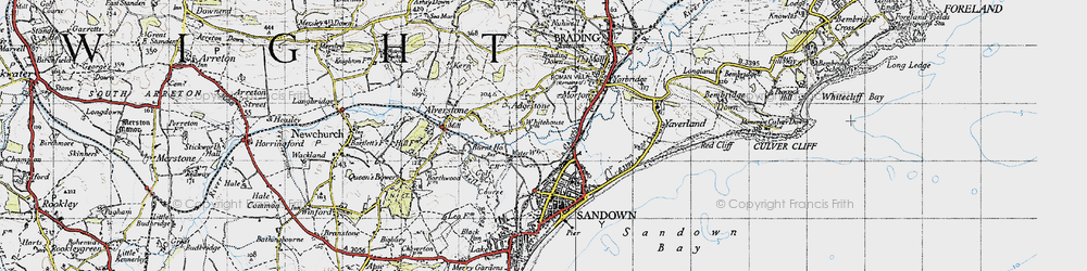 Old map of Adgestone in 1945