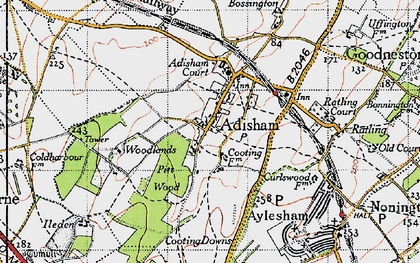 Old map of Adisham in 1947