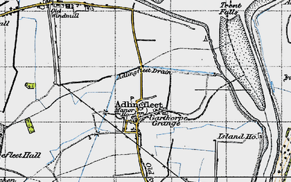 Old map of Adlingfleet Drain in 1947