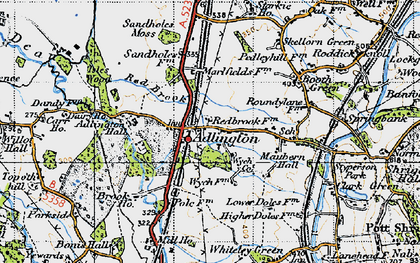 Old map of Adlington Hall in 1947