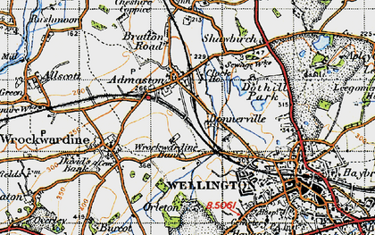 Old map of Admaston in 1947