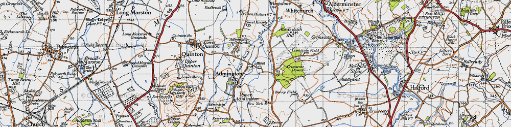 Old map of Admington in 1946
