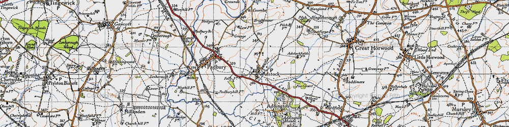 Old map of Adstock in 1946