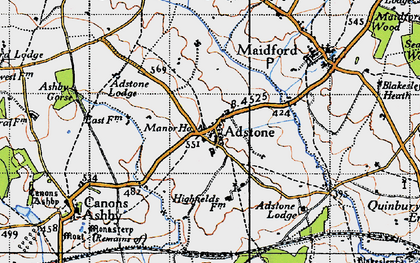 Old map of Adstone in 1946