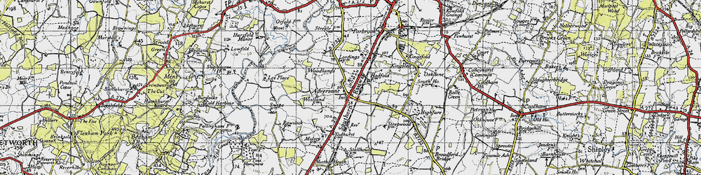 Old map of Adversane in 1940