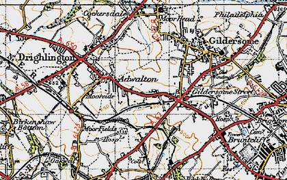 Old map of Adwalton in 1947
