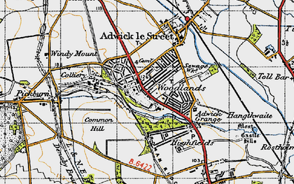 Old map of Adwick Grange in 1947