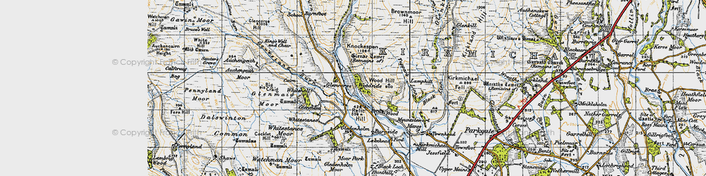 Old map of Whitestanes Moor in 1947