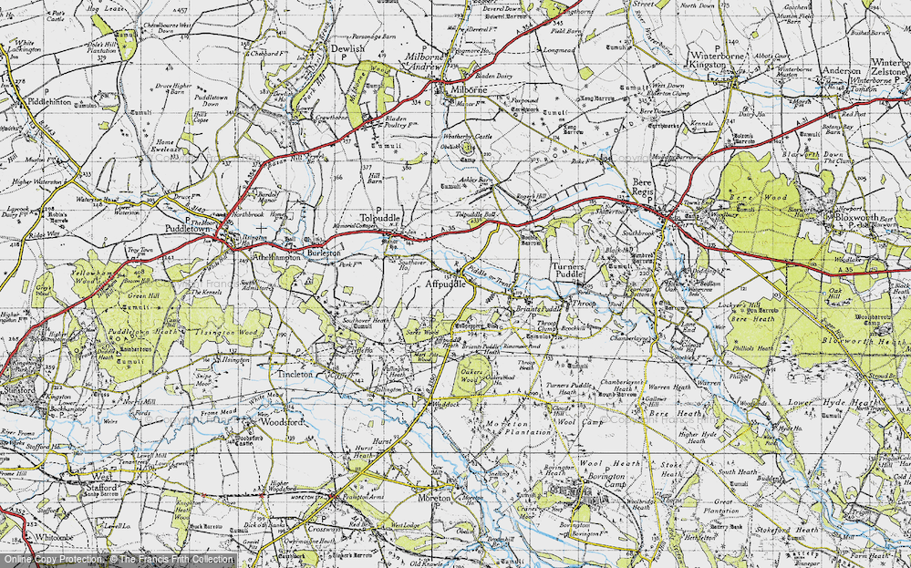 Old Map of Historic Map covering Affpuddle Heath in 1945