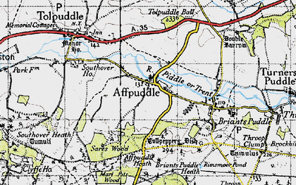Old map of Affpuddle Heath in 1945