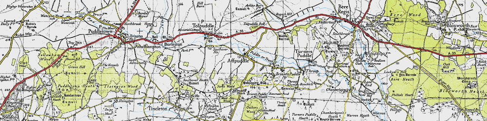 Old map of Affpuddle in 1945